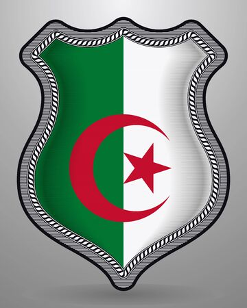 Flag of Algeria. Vector Badge and Icon. Horizontal Orientation Version. Isolated