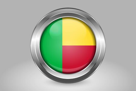 Flag of Benin. Metal and Glass Round Vector Icon. Isolated on Gray Stock Illustratie