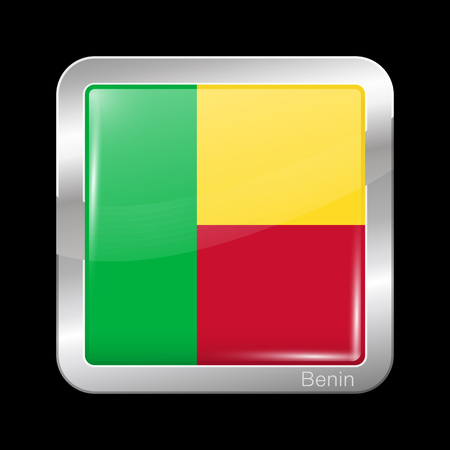 Flag of Benin. Glossy and Metal Icon Square Shape. Vector Button