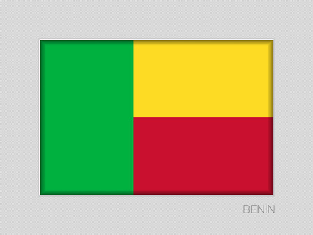 Flag of Benin. National Ensign Aspect Ratio 2 to 3 on Gray Cardboard. Vector