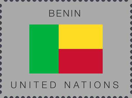 Flag of Benin. Vector Sign and Icon. Postage Stamp. Isolated