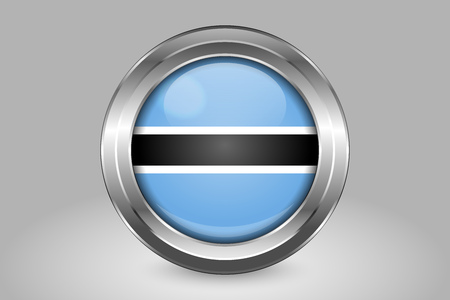 Flag of Botswana. Metal and Glass Round Vector Icon. Isolated on Gray