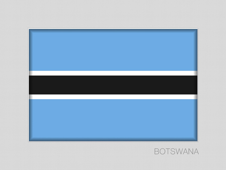 Flag of Botswana. National Ensign Aspect Ratio 2 to 3 on Gray Cardboard. Vector