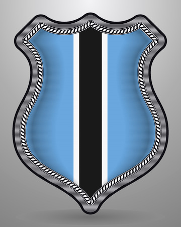 Flag of Botswana. Vector Badge and Icon. Vertical Orientation Version. Isolated