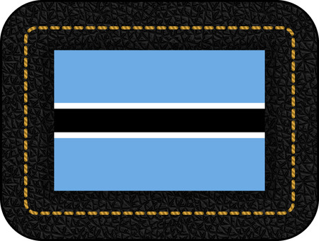 Flag of Botswana. Vector Icon on Black Leather Backdrop. Aspect Ratio 2:3 Иллюстрация
