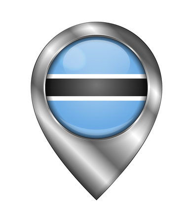 Flag of Botswana. Vector Sign and Icon. Location Symbol Shape. Silver. Isolated