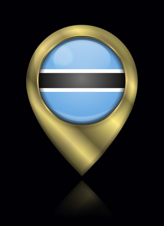 Flag of Botswana. Vector Sign and Icon. Location Symbol Shape. Gold Isolated Stock Illustratie