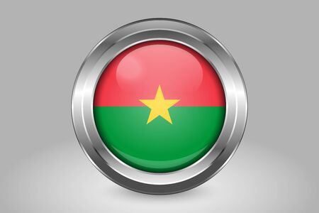 Flag of Burkina Faso. Metal and Glass Round Vector Icon. Isolated on Gray Stock Illustratie