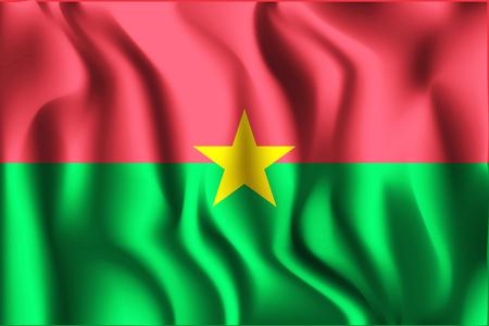 Flag of Burkina Faso. Rectangular Icon. Waving Effect. Vector Illustration Stock Illustratie