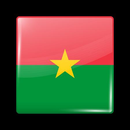 Flag of Burkina Faso. Glossy Icon Square Shape. Vector Button Stock Illustratie