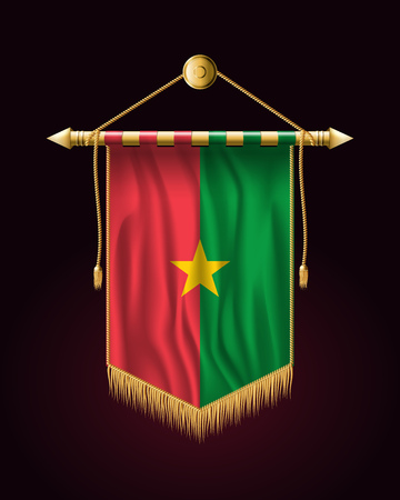 Flag of Burkina Faso. Festive Vertical Banner. Wall Hangings with Gold Tassel Fringing