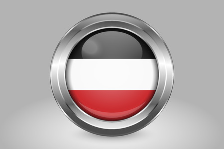 Flag of . Metal and Glass Round Vector Icon. Isolated on Gray