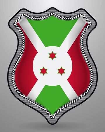 Flag of Burundi. Vector Badge and Icon. Vertical Orientation Version. Isolated Ilustração