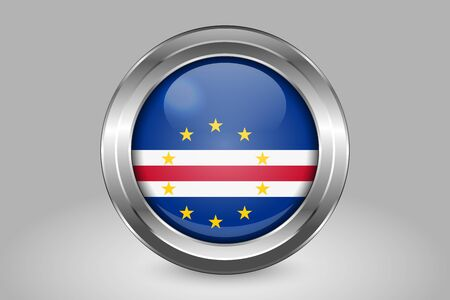 Flag of Cape Verde. Metal and Glass Round Vector Icon. Isolated on Gray Иллюстрация