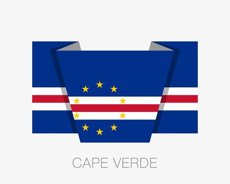 Flag of Cape Verde. Flat Icon Waving Flag with Country Name on White Background