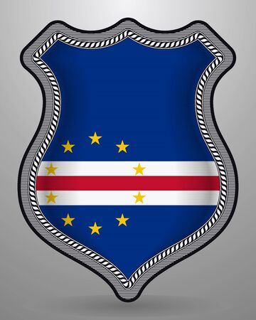 Flag of Cape Verde. Vector Badge and Icon. Horizontal Orientation Version. Isolated