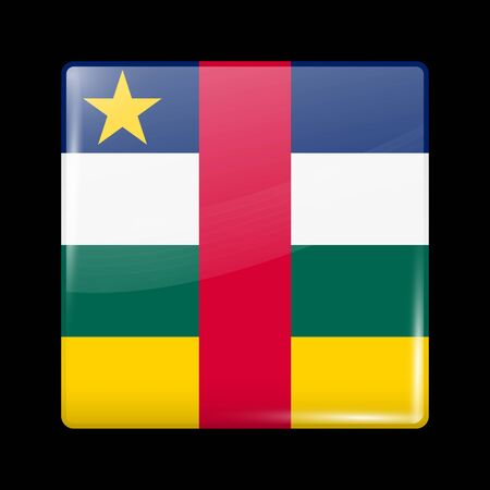 Flag of Central African Republic. Glossy Icon Square Shape. Vector Button Иллюстрация