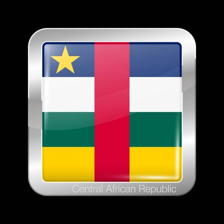 Flag of Central African Republic. Glossy and Metal Icon Square Shape. Vector Button Иллюстрация