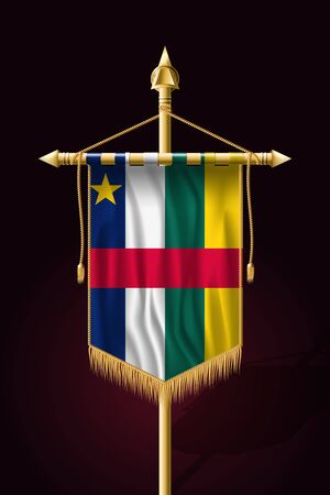 Flag of Central African Republic. Festive Vertical Banner. Wall Hangings with Gold Tassel Fringing Иллюстрация