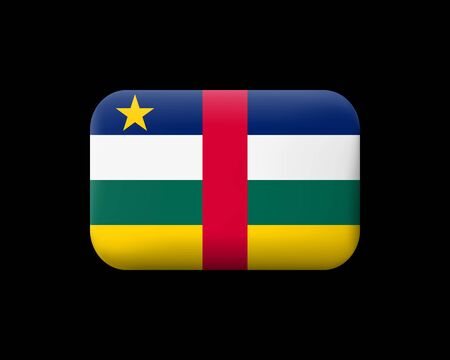 Flag of Central African Republic. Matted Vector Icon and Button. Rectangular Shape with Rounded Corners. Isolated