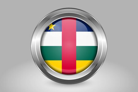 Flag of Central African Republic. Metal and Glass Round Vector Icon. Isolated on Gray