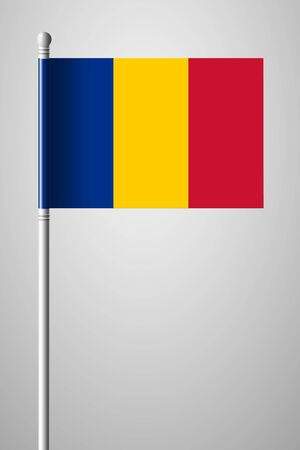 Flag of Chad. National Flag on Flagpole. Isolated Illustration on Gray Background