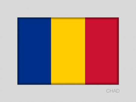 Flag of Chad. National Ensign Aspect Ratio 2 to 3 on Gray Cardboard. Vector Иллюстрация