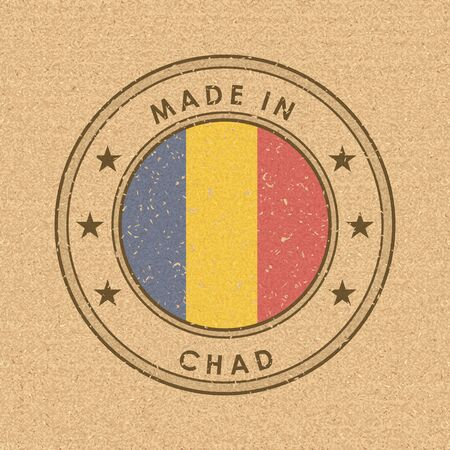 Flag of Chad. Round Label with Country Name for Unique National Goods. Vector Isolated Иллюстрация