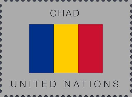 Flag of Chad. Vector Sign and Icon. Postage Stamp. Isolated