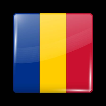 Flag of Chad. Glossy Icon Square Shape. Vector Button