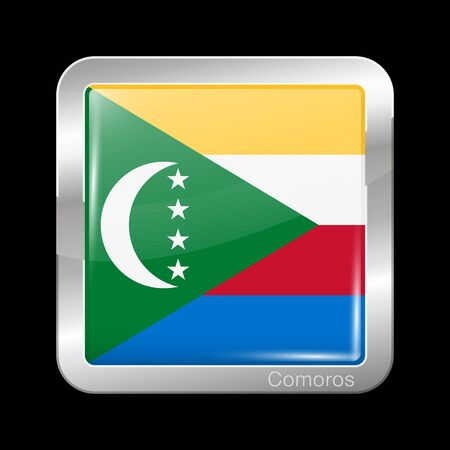 Flag of Comoros. Glossy and Metal Icon Square Shape. Vector Button