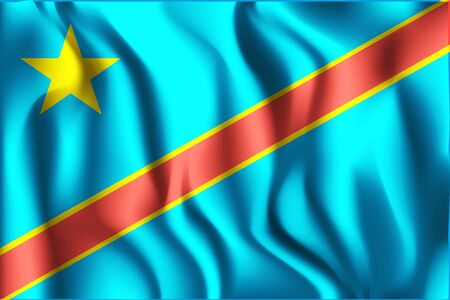 Flag of Democratic Republic of the Congo. Rectangular Icon. Waving Effect. Vector Illustration