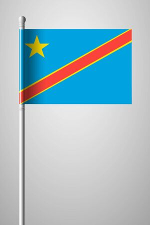 Flag of Democratic Republic of the Congo. National Flag on Flagpole. Isolated Illustration on Gray Background