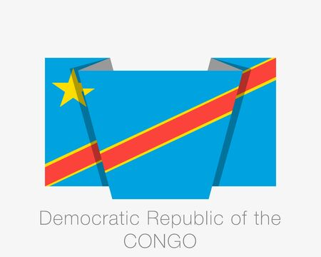 Flag of Democratic Republic of the Congo. Flat Icon Waving Flag with Country Name on White Background