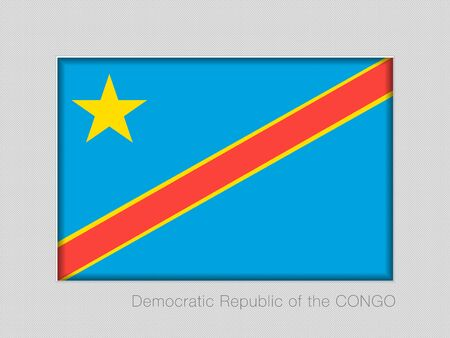 Flag of Democratic Republic of the Congo. National Ensign Aspect Ratio 2 to 3 on Gray Cardboard. Vector