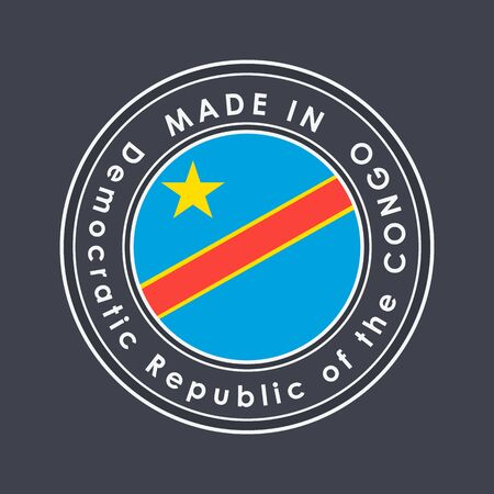 Flag of Democratic Republic of the Congo. Round Label with Country Name for Unique National Goods. Vector Isolated