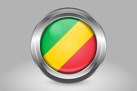 Flag of Republic of the Congo. Metal and Glass Round Vector Icon. Isolated on Gray Иллюстрация
