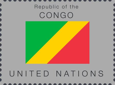 Flag of Republic of the Congo. Vector Sign and Icon. Postage Stamp. Isolated