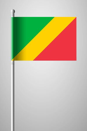 Flag of Republic of the Congo. National Flag on Flagpole. Isolated Illustration on Gray Background