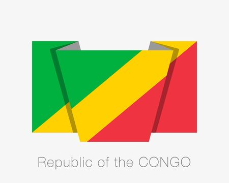 Flag of Republic of the Congo. Flat Icon Waving Flag with Country Name on White Background