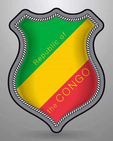 Flag of Republic of the Congo. Vector Badge and Iconwith Country Name. Isolated