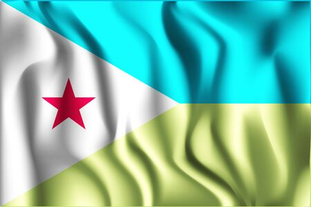 Flag of Djibouti. Rectangular Icon. Waving Effect. Vector Illustration