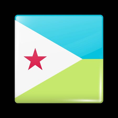Flag of Djibouti. Glossy Icon Square Shape. Vector Button
