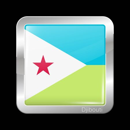Flag of Djibouti. Glossy and Metal Icon Square Shape. Vector Button