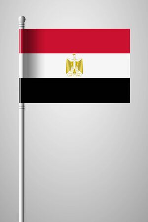 Flag of Egypt. National Flag on Flagpole. Isolated Illustration on Gray Background