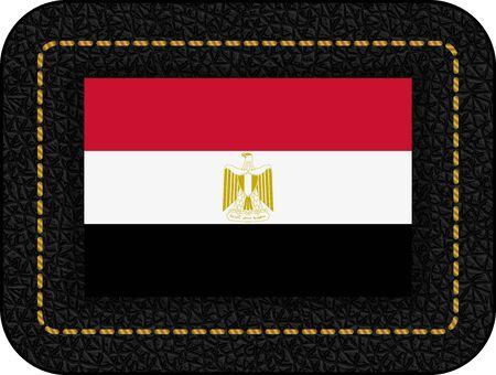 Flag of Egypt. Vector Icon on Black Leather Backdrop. Aspect Ratio 2:3 Stock fotó - 128294502