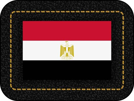 Flag of Egypt. Vector Icon on Black Leather Backdrop. Aspect Ratio 2:3