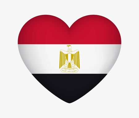 Heart Shaped National Flag of Egypt. I Love My Country. Vector Isolated Illustration Иллюстрация