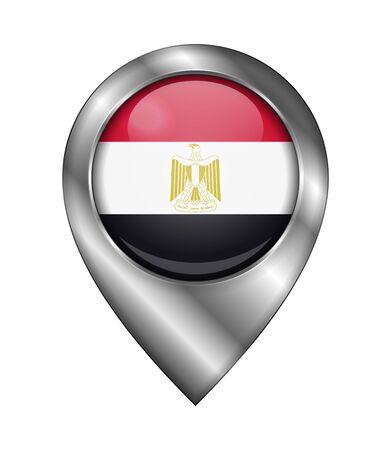 Bandera de Egipto. Icono y signo de vector. Forma del símbolo de ubicación. Plata aislado