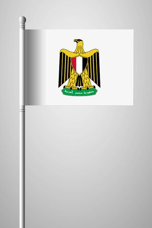 Egypt. Coat of Arms. National Flag on Flagpole. Isolated Illustration on Gray Background Иллюстрация